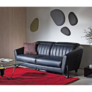Mase Leather Sofa with Adjustable Headrest