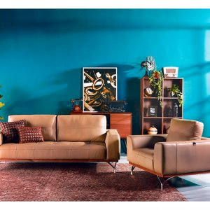 Yves Leather Sofa with Detachable Cushion
