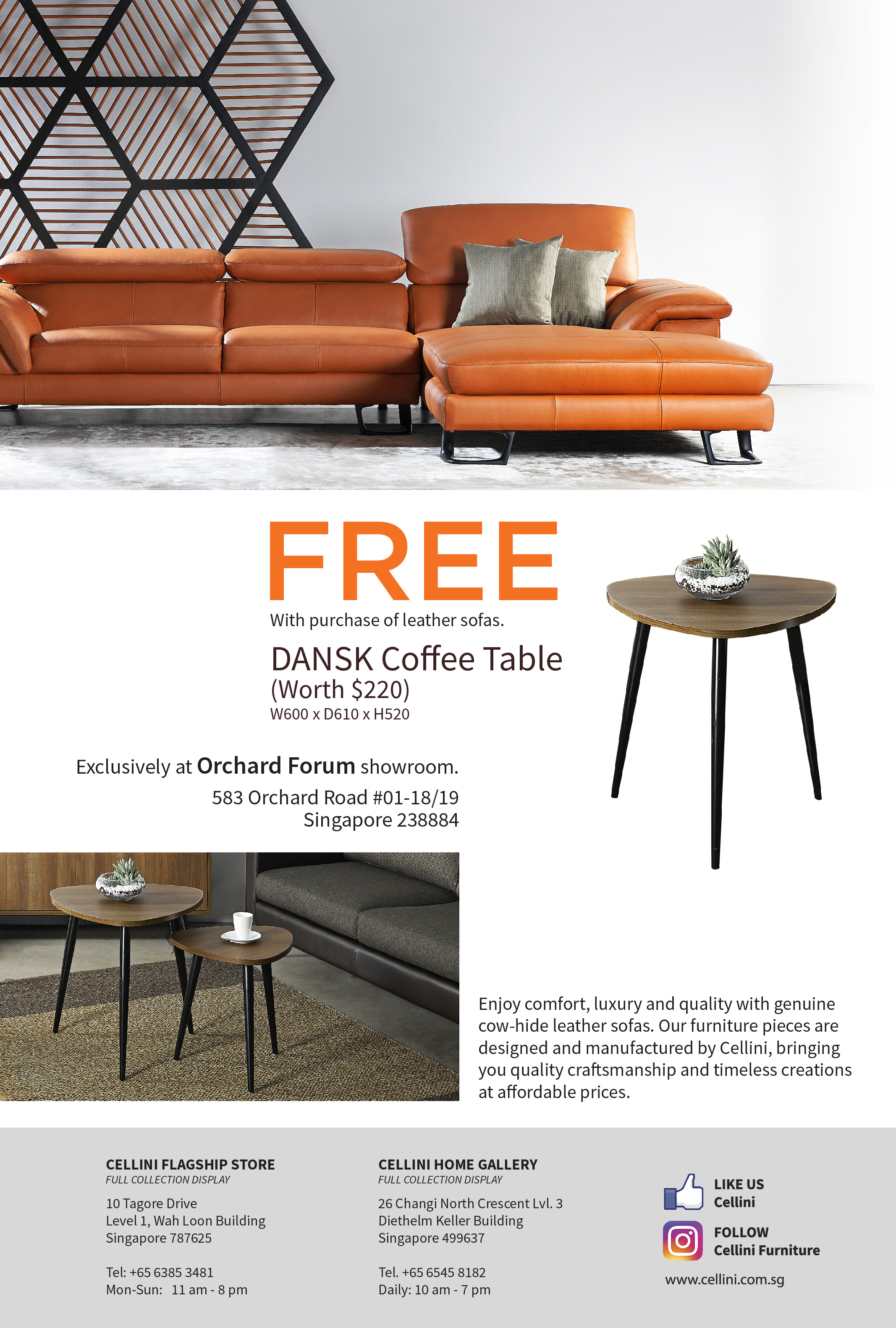 Free Coffee Table With Leather Sofa